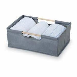 Sivý úložný box Domopak Saket, dĺžka 34 cm