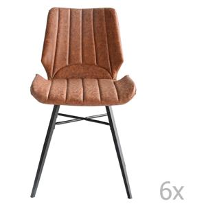 Sada 6 hnedých jedálenských stoličiek RGE Odin