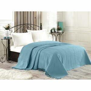 Tyrkysový bavlnený pléd cez posteľ na dvojlôžko Richard, 220×240 cm