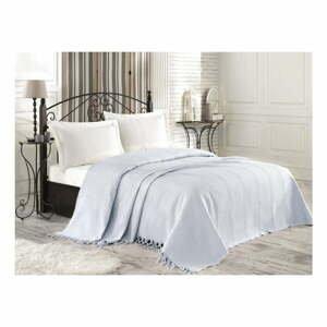 Svetlomodrý bavlnený pléd cez posteľ na dvojlôžko Roman, 220×240 cm
