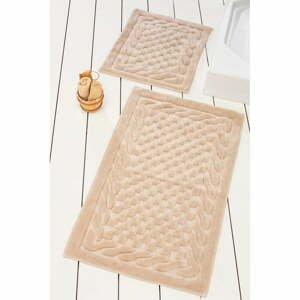 Sada 2 béžových bavlnených kúpeľňových podložiek Bambi