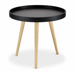 Čierny konferenčný stolík s nohami z bukového dreva Furnhouse Opus, Ø 50 cm