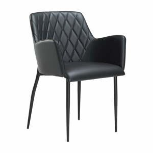 Čierna jedálenská stolička z eko kože s opierkami DAN–FORM Denmark Rombo Faux