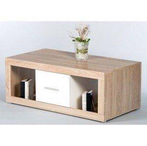 Konferenčný stolík Cancan, dub sonoma/lesklá biela%
