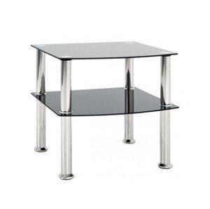 Odkládací stolek Katja 45x45 cm, černé sklo%