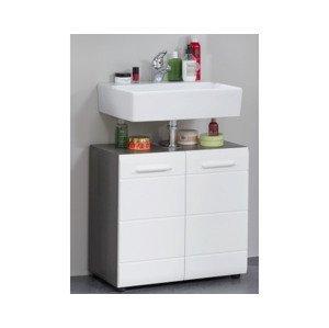 Kúpeľňová skrinka pod umývadlo Skin, dymovo sivá/lesklá biela%