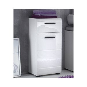Kúpeľňová stojacie skrinka Skin, lesklá biela%