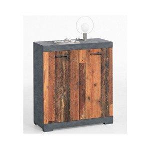 Skrinka Bristol, brúsený kov/vintage drevo%