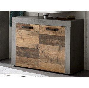 Kúpeľňová skrinka pod umývadlo Indiana, vintage optika dreva%