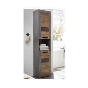 Vysoká kúpeľňová skrinka Indiana, vintage optika dreva%