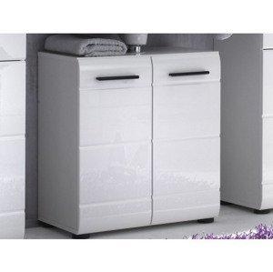 Kúpeľňová skrinka pod umývadlo Skin, lesklá biela%