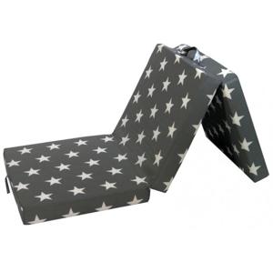 Skladací matrac Samba, sivý so vzorom hviezd%