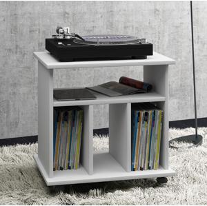Pojazdný stolík na gramofón + LP, biely