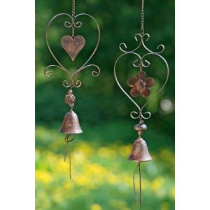Závesná dekorácia Srdce so zvončekom, 2 ks