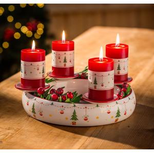 Keramický adventný svietnik Veselé Vianoce