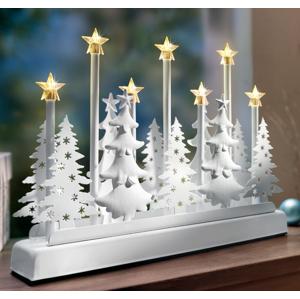 LED dekorácia Vianočný les s hracou skrinkou