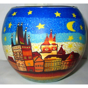 Sklenený svietnik Praha, 11 cm