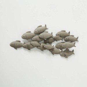 Nástenná dekorácia Kŕdeľ rýb, 97 cm