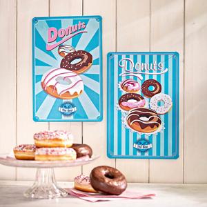 Plechové cedule Donuts, 2 ks