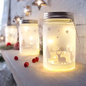 LED sklenený lampáš Vianoce, 2 kusy