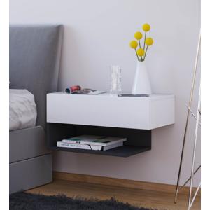 Nástenný nočný stolík Dormal Maxi, biela / čierna
