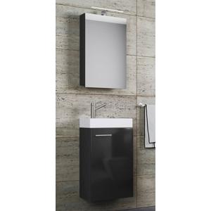 Kúpeľňový set so zrkadlovou skrinkou Slito, čierny