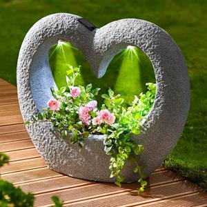 LED solárny kvetináč Srdce