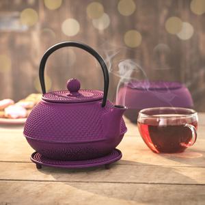 Liatinová kanvica na čaj, fialová