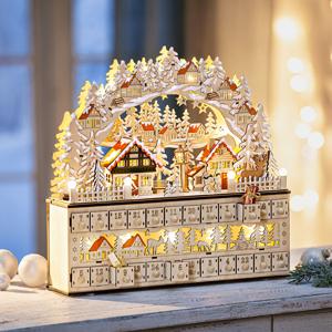 LED Drevený adventný kalendár Dedinka