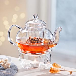 Sklenená čajová kanvica s ohrievačom