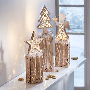 LED Drevené stĺpiky Vánoce, súprava 3 ks