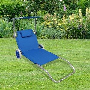 Záhradné ležadlo s Koliesko a Slnečné clonou, modré