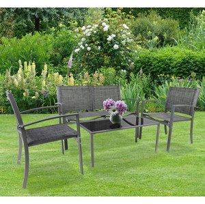 Sada záhradného nábytku, šedá, 4 ks