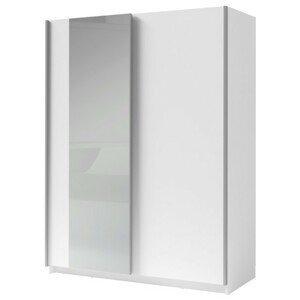 Sconto Šatníková skriňa so zrkadlom SPLIT biela/šírka 150 cm