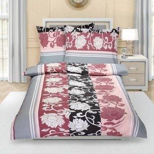 Bellatex Krepové obliečky Pivonka sivoružová, 140 x 220 cm, 70 x 90 cm