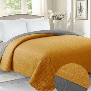 Domarex Prehoz na posteľ Benita sivá/horčicová, 220 x 240 cm