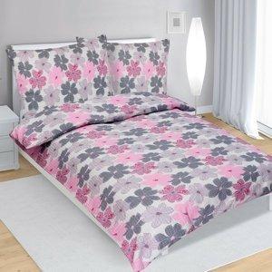Bellatex Krepové obliečky Kvety ružová, 140 x 220 cm, 70 x 90 cm