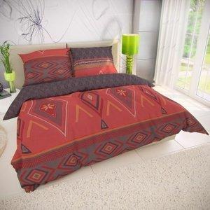 Kvalitex Bavlnené obliečky Zahira červená, 140 x 200 cm, 70 x 90 cm