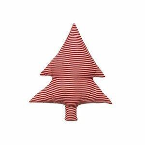 Domarex Vianočný tvarovaný vankúšik Smrčok červené prúžky, 40 cm