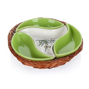 Banquet Olives 4-dielna servírovacia miska v košíku