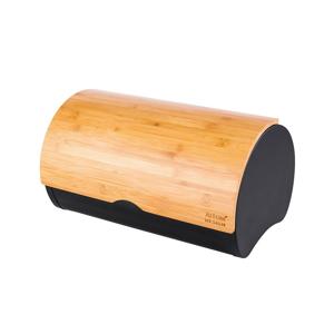 Altom Chlebník s bambusovým vekom 37,7 x 24,3 x 20,4 cm, černá