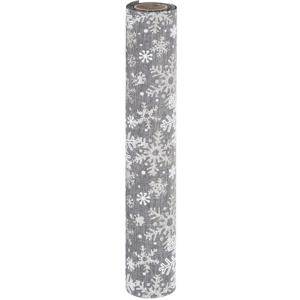 Dekoratívna látka Big snowflakes sivá, 21 x 250 cm
