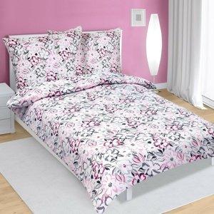 Bellatex Saténové obliečky Kvety ružová, 140 x 220 cm, 70 x 90 cm