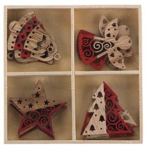 Altom Sada drevených vianočných ozdôb Mix 4, 16 ks, červená