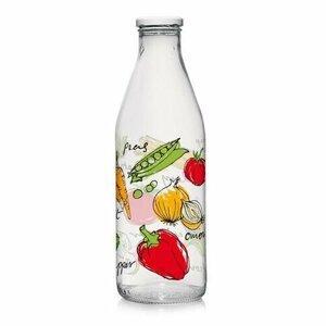 Sklenená fľaša s viečkom ZELENINA 1 l, 6 ks