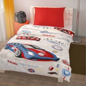 Kvalitex Detské bavlnené obliečky Racing, 140 x 200 cm, 70 x 90 cm