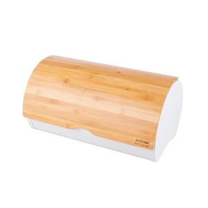 Altom Chlebník s bambusovým vekom 37,7 x 24,3 x 20,4 cm, biela