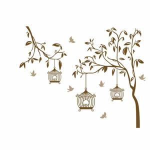 Samolepiaca dekorácia vtáčiky v klietke,