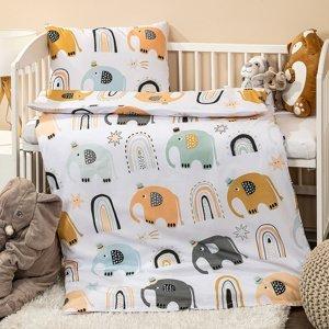 4home Detské bavlnené obliečky do postieľky Little elephant, 100 x 135 cm, 40 x 60 cm