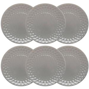 Florina Sada keramických dezertných tanierov Diamond 19,5 cm, 6 ks, sivá